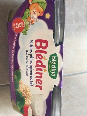 BLEDINA BLEDINER BOLS Petites Pâtes Epinards Lait Une Touche de Crème 2x200g Dès 8 Mois - Produit - fr