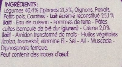 BLEDINA BLEDINER BOLS Petites Pâtes Epinards Lait Une Touche de Crème 2x200g Dès 8 Mois - Ingrédients - fr