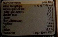 Blédiner céréale du soir - légumes verts - Valori nutrizionali - fr