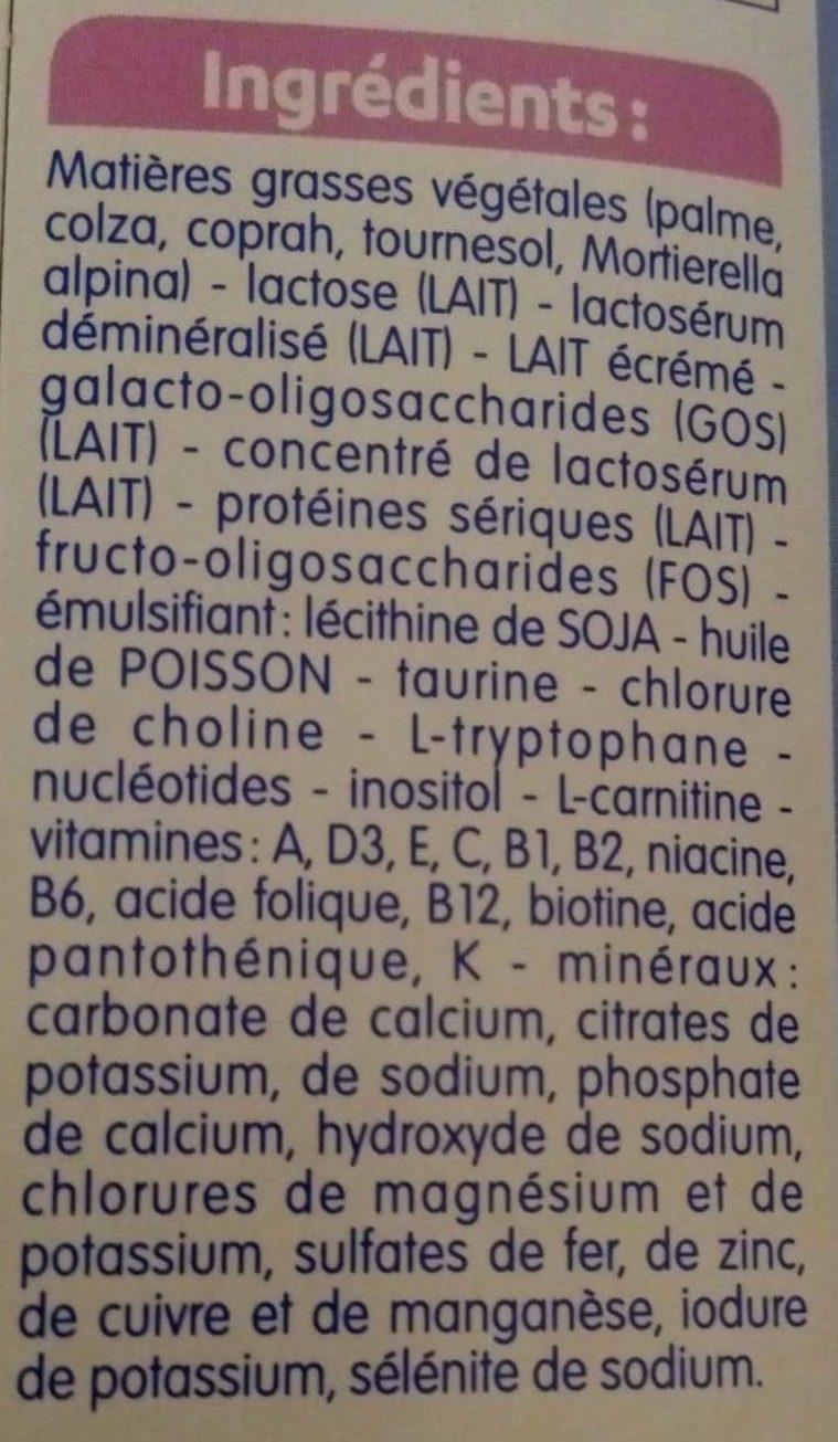 Gallia Calisma 2  de 6 à 12 Mois - Ingrédients - fr
