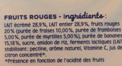 Blédina Gourdes lactées 4x85g Exotiques/Fruits rouges 10 mois - Ingredientes - fr