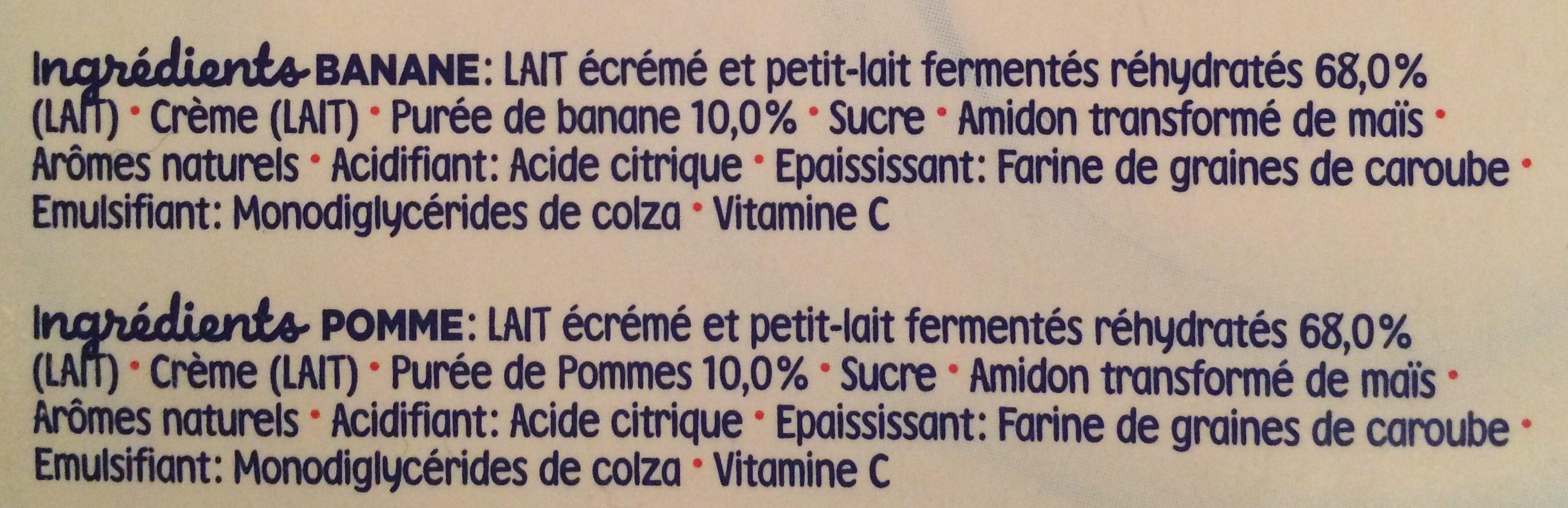 Mini lactes banane pomme - Ingrédients - fr