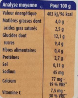 Desserts bébé de 6 à 36 mois poire Blédina - Voedingswaarden - fr