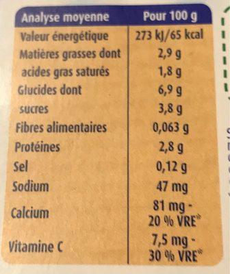 Mini lactés nature - Informations nutritionnelles