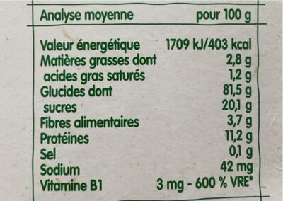BLEDINA BLEDINE Saveur Biscuit 400g Dès 6 Mois - Valori nutrizionali - fr