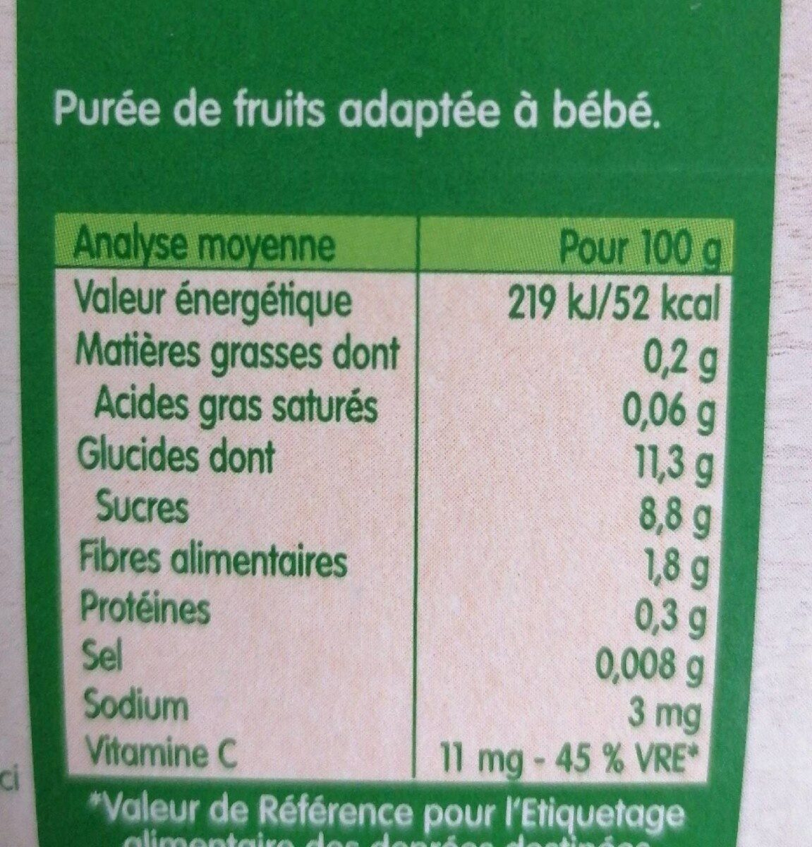 Compote pomme - Nutrition facts - fr
