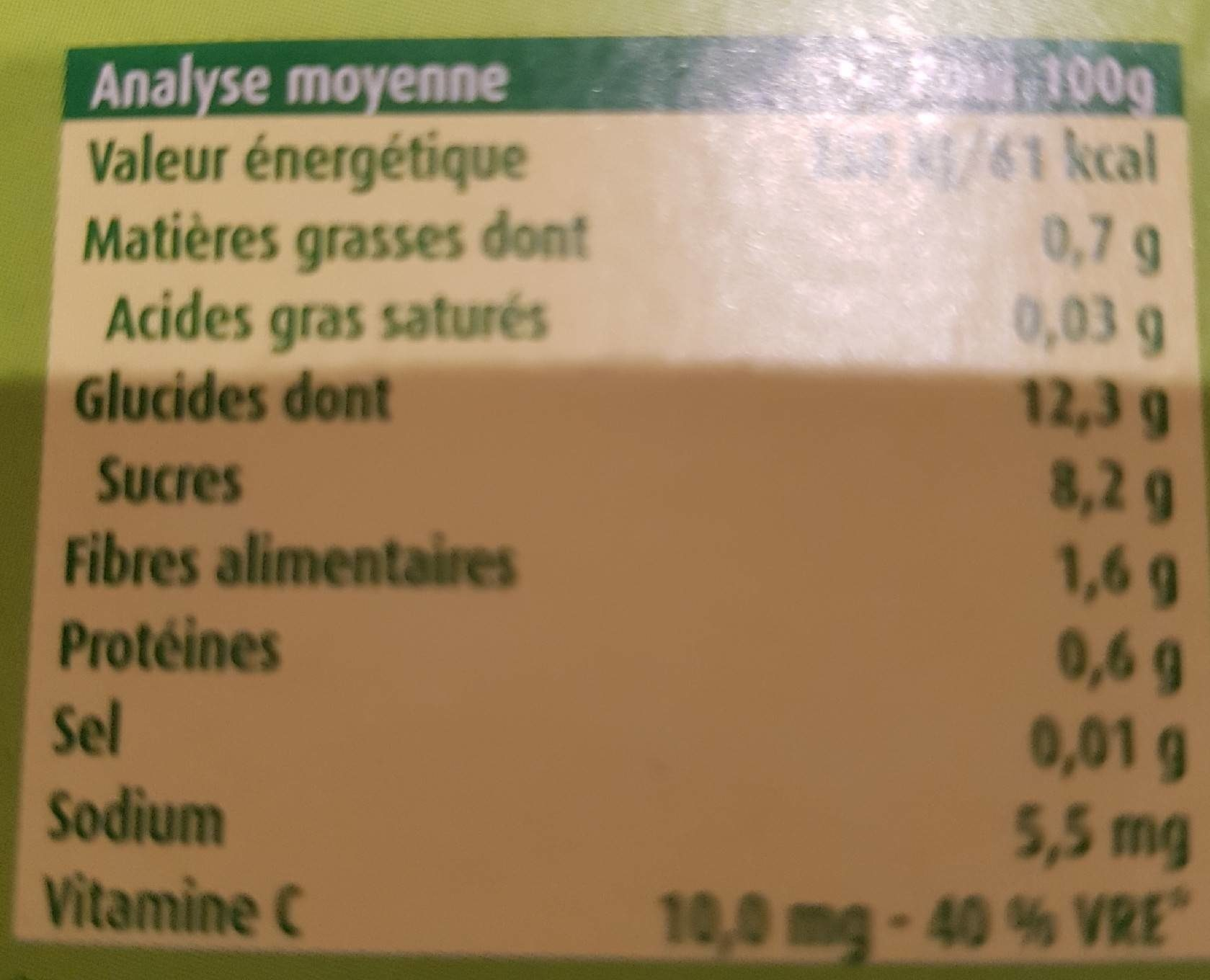 pommes biscuit - Informations nutritionnelles - fr