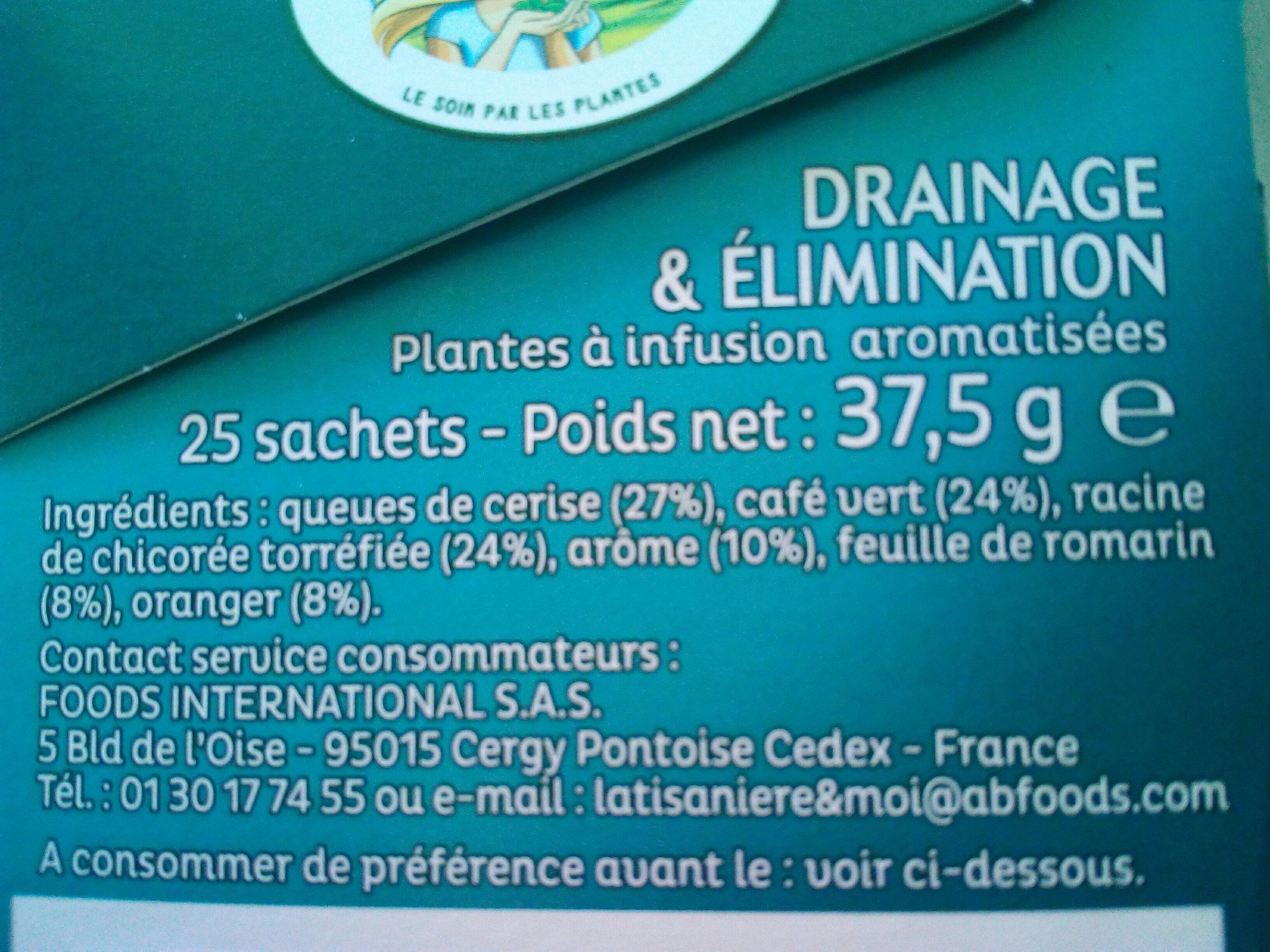 Infusion Drainage et Élimination - Ingredients