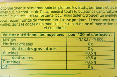 Fleur de Camomille - Nutrition facts