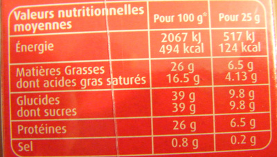 Lait entier en poudre - Nutrition facts