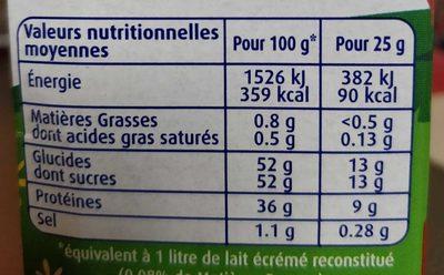 Lait écrémé en poudre Bio - Informations nutritionnelles - fr