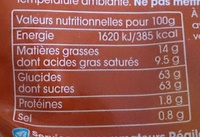 Caramel Beurre salé tartines et desserts - Nutrition facts - fr