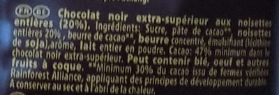 Carrés Noir Noisette - Ingrediënten