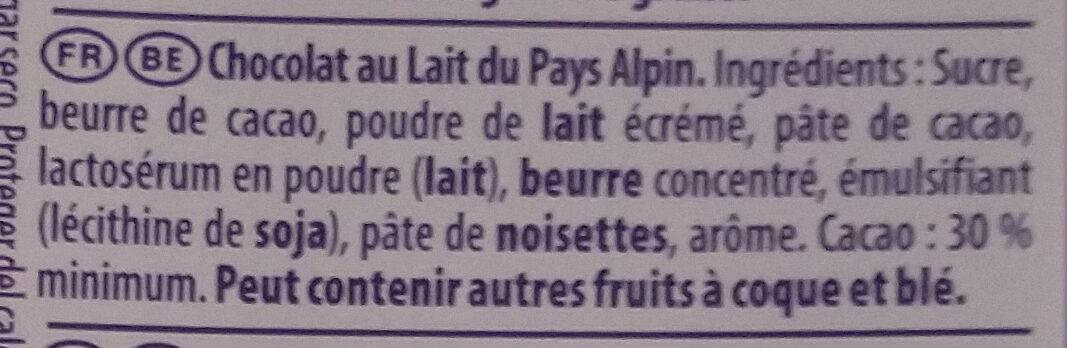 Chocolat au lait du Pays Alpin - Ingrédients