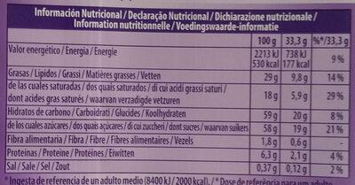 Chocolat au lait du Pays Alpin - Informations nutritionnelles