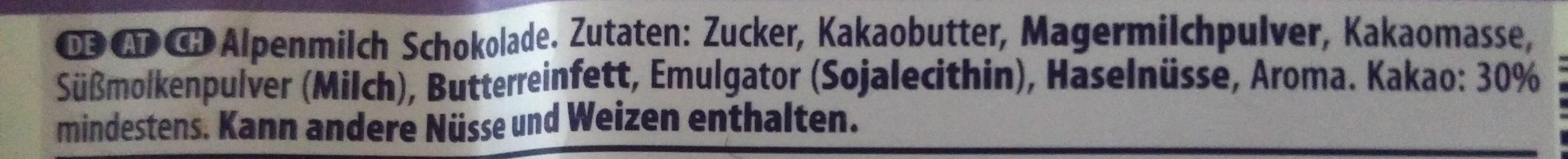 Alpenmilch Chocolate - Zutaten - de