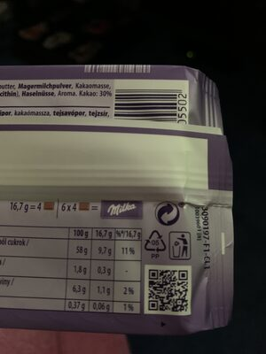 Alpenmilch Chocolate - Recycling instructions and/or packaging information - en
