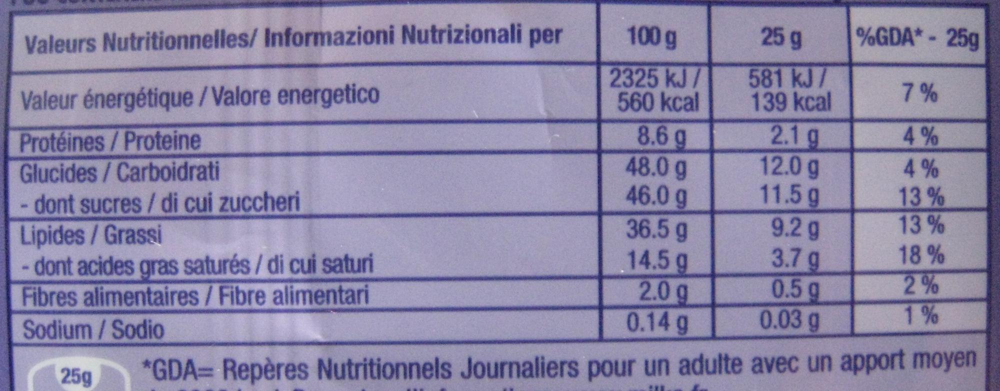 Chocolat Noisettes entières - Nutrition facts
