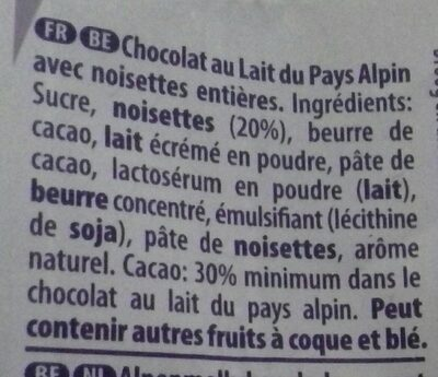 Milka Noisette Entières - Ingredients - fr