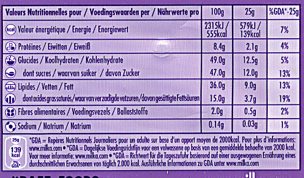 Milka Noisette Entières - Nutrition facts - fr