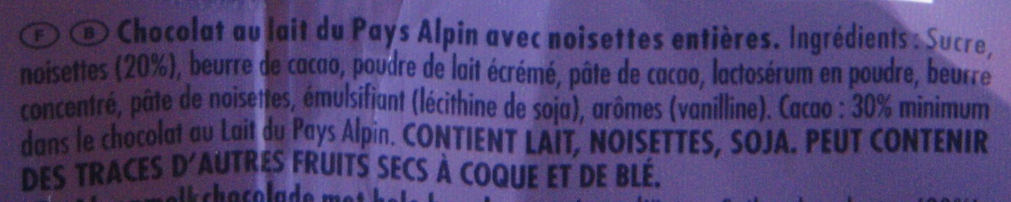 Chocolat Noisettes entières - Ingrédients - fr