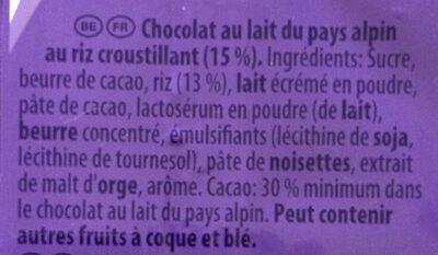 Chocolat Milka / Riz croustillant - المكونات - fr