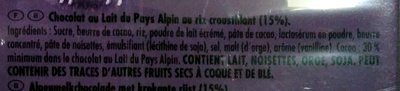Milka Riz Croustillant - Ingrédients