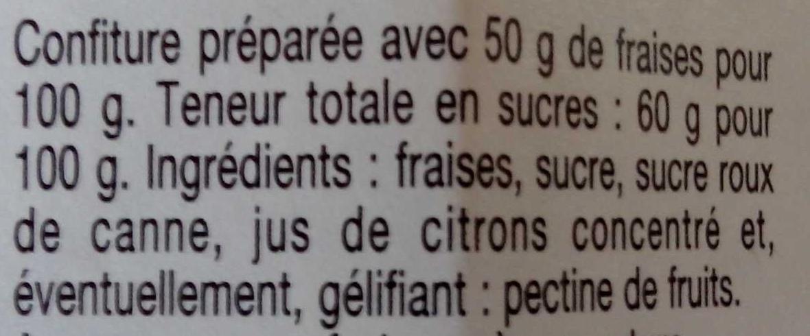 Confiture Extra Fraises - Ingrédients