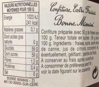 Confiture Extra Fraises - Informations nutritionnelles