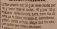 Confiture Reines Claudes - Ingredienti - fr