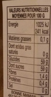 Confiture Reines Claudes - Valori nutrizionali - fr