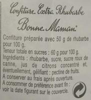 Confiture extra rhubarbe - Ingredienti - fr