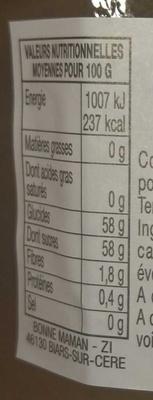 Confiture extra rhubarbe - Valori nutrizionali - fr