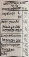 Pêches - Confiture extra - Informazioni nutrizionali - fr