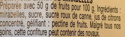 Confiture Mirabelles - Ingredients