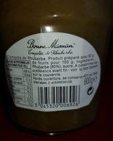Compotée Bonne Maman Rhubarbe - Ingredients