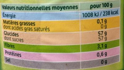 Confiture Extra Framboises - Valori nutrizionali - fr