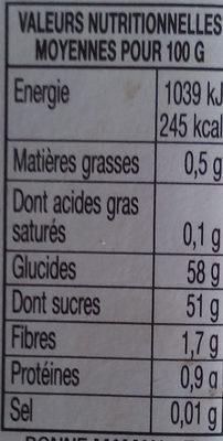 Confiture de Châtaignes à la vanille - Voedingswaarden - fr