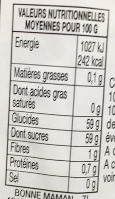 confiture mures - Valori nutrizionali - fr