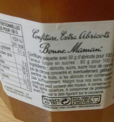 Confiture abricots - Ingrédients