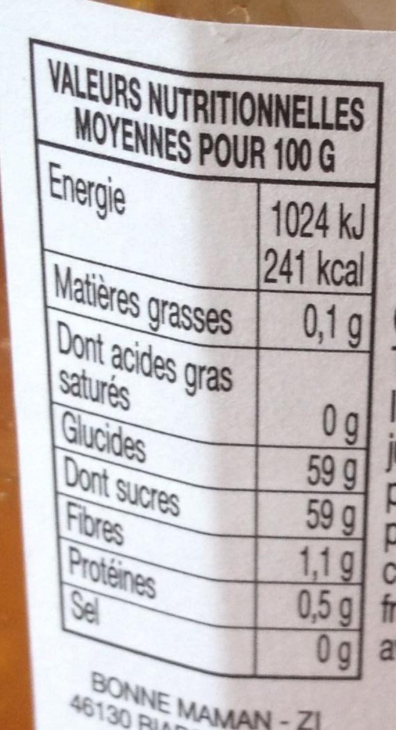 Confiture abricots - Informations nutritionnelles
