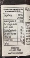 Confiture myrtilles sauvages - Informations nutritionnelles - fr