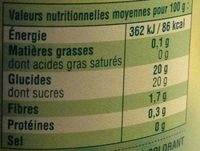 Compote Pomme Nature - Informations nutritionnelles - fr