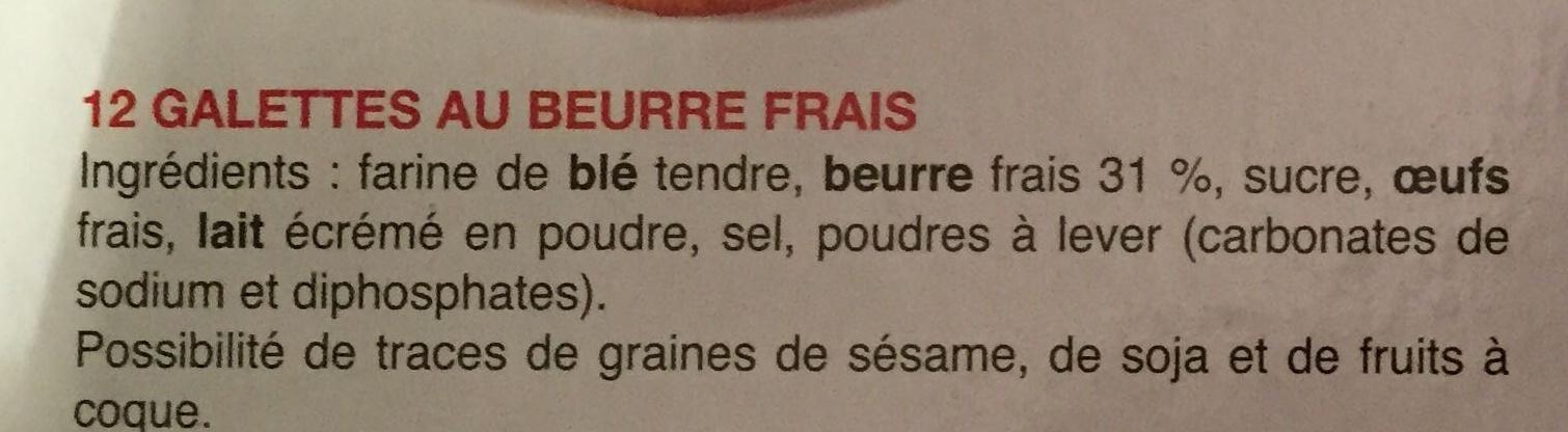 Galettes au beurre frais - Ingrédients