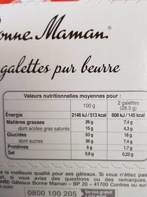 Galettes pur beurre - Nutrition facts - fr