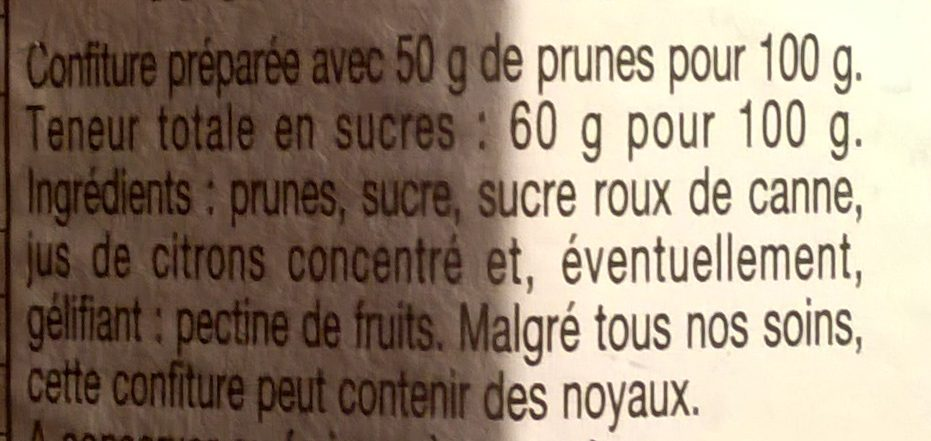 Prunes - Ingredients
