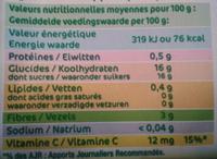 Dessert fruitier pomme framboise - Informations nutritionnelles - fr