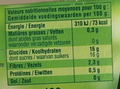 pommes/framboises - Voedingswaarden - fr