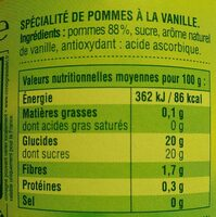 Pomme vanille - Nutrition facts - fr