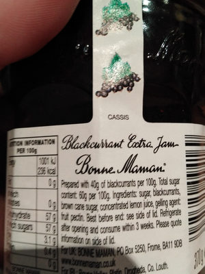 Bonne Maman Blackcurrant Conserve 370G - Ingredients